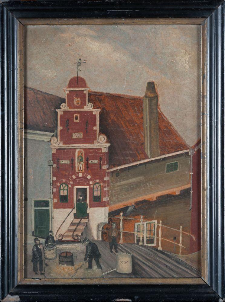 Schilderij van het Korendragershuisje door B. Steinfort