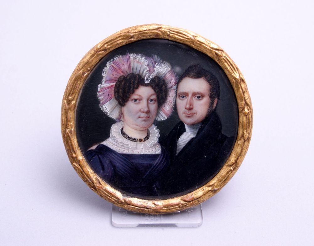 Portret in gouche van Jelle Banga en Teatske van der Kooi door Carl Schuts