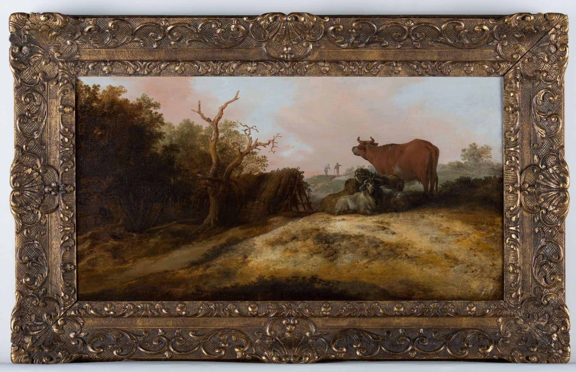 Landschap met koe en geiten door Jacobus Sibrandi Mancadan