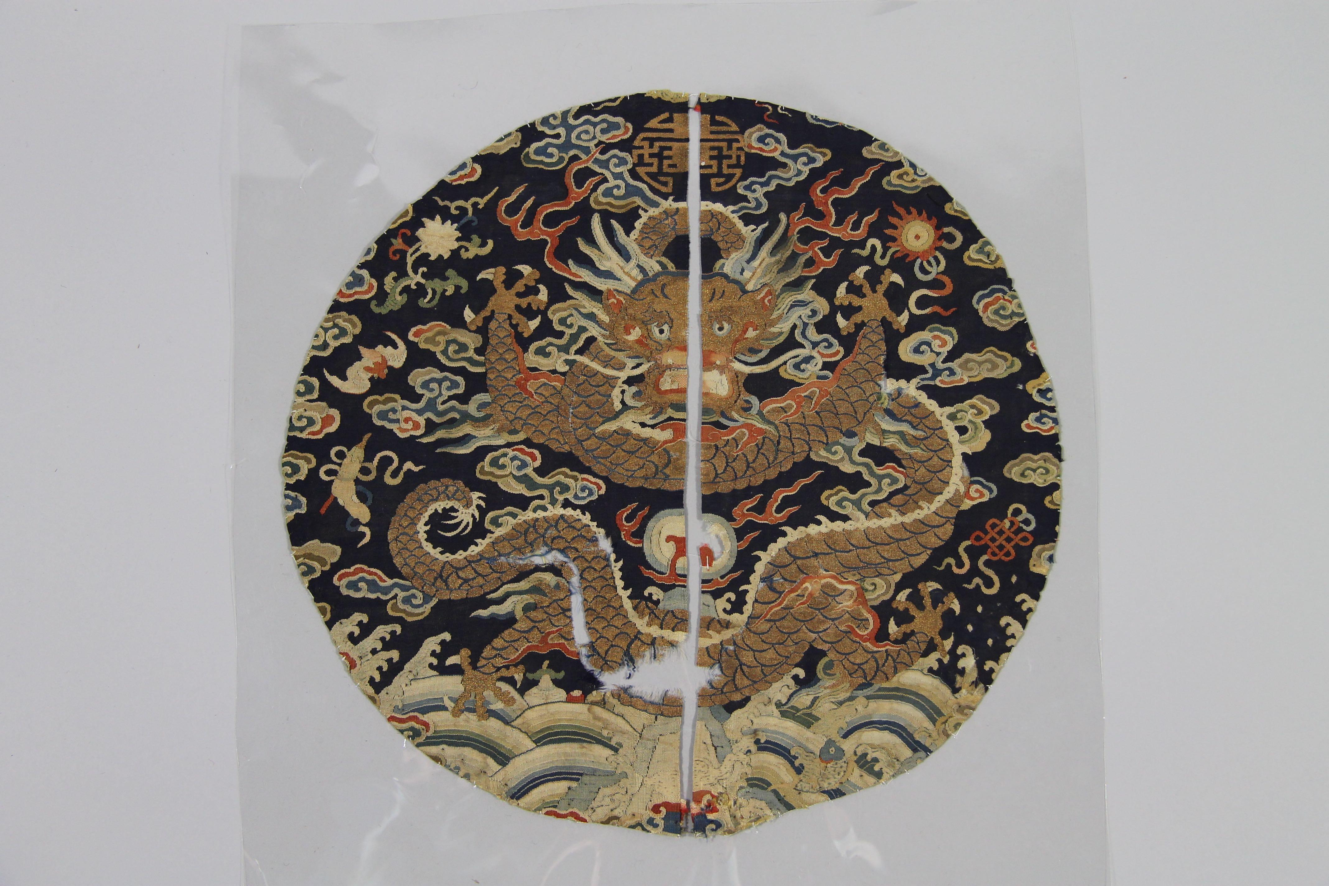 Circular Silk tapestry medaillon (fragment)