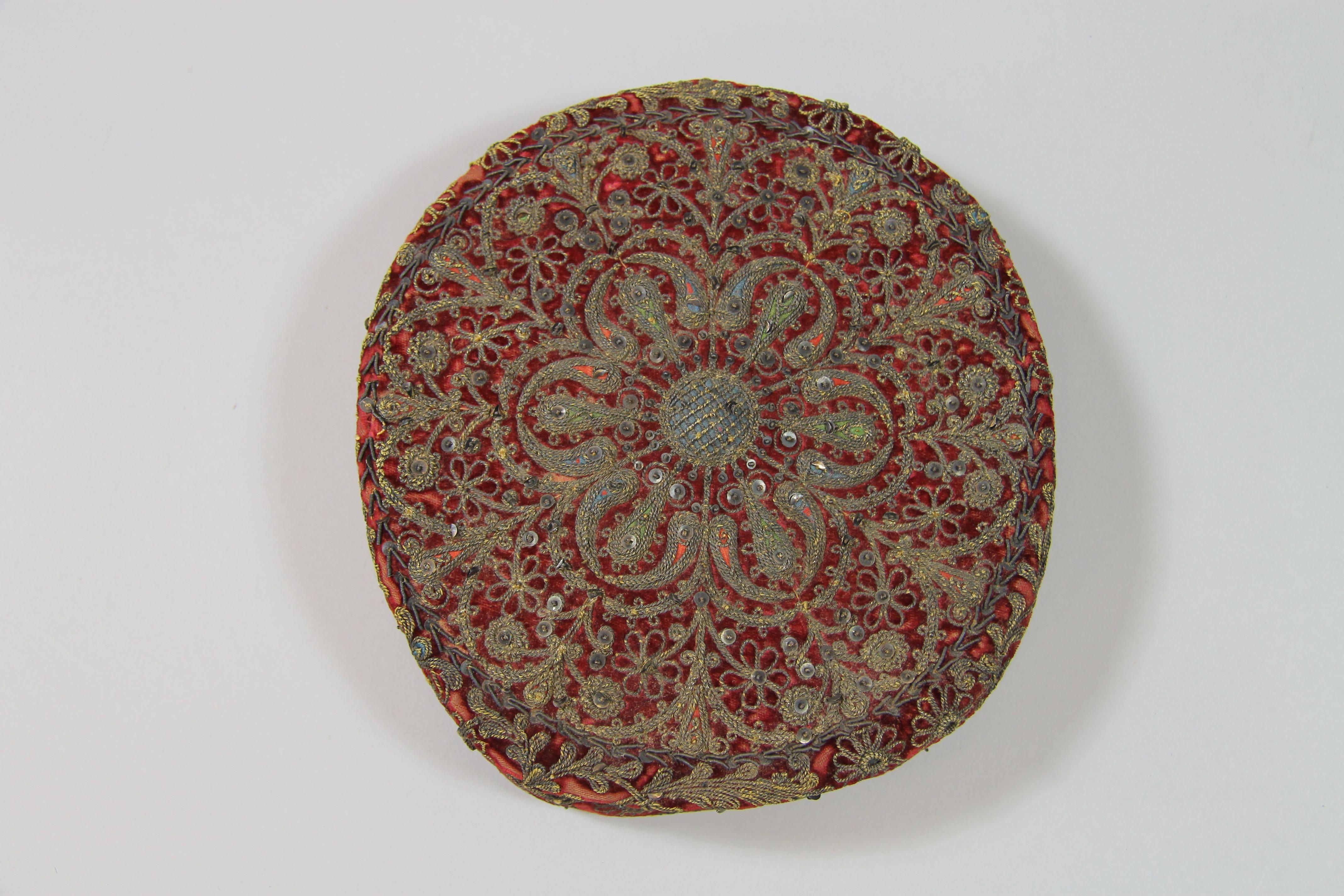 Embroidered velvet cap