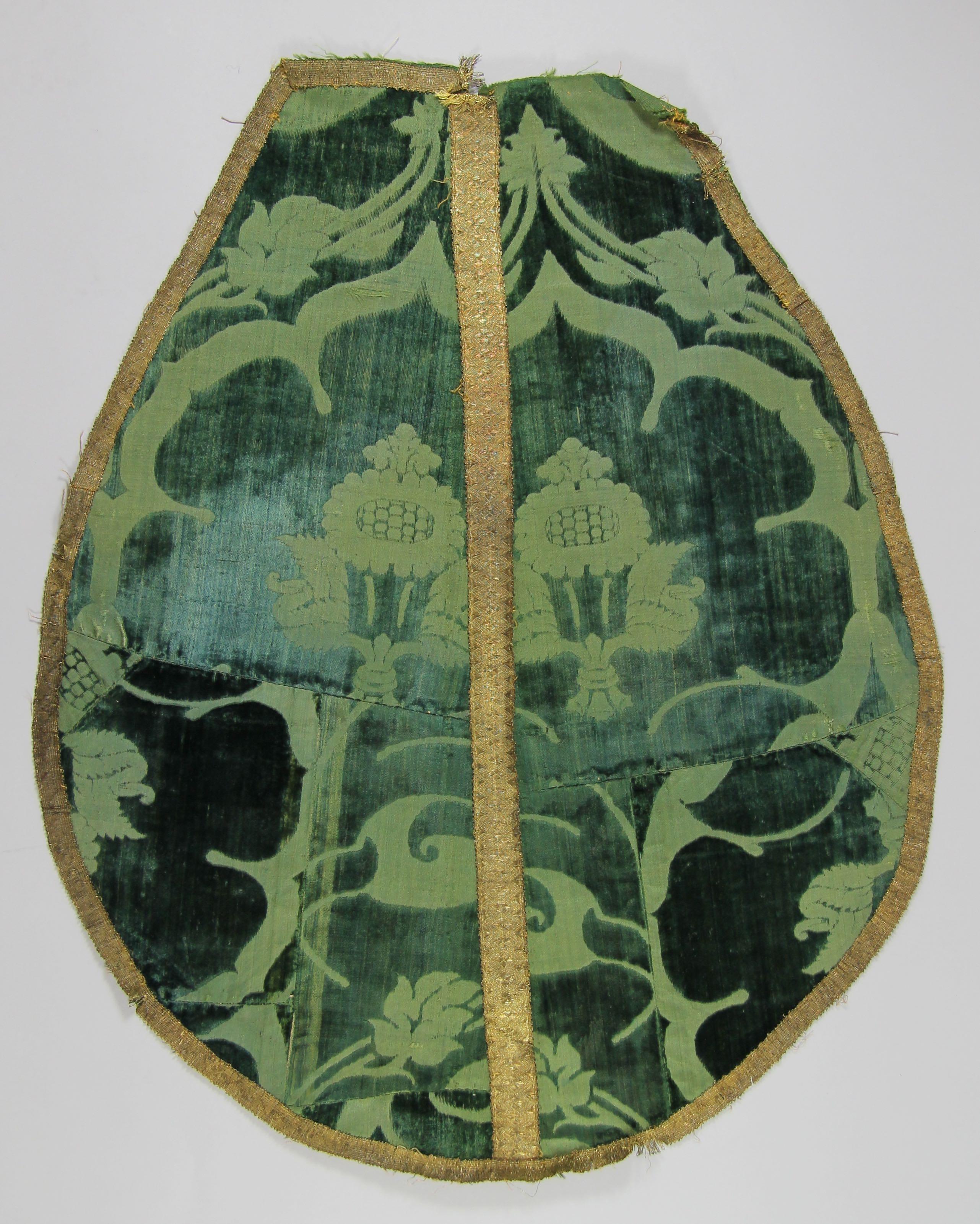 Part of a green velvet chasuble (fragment)