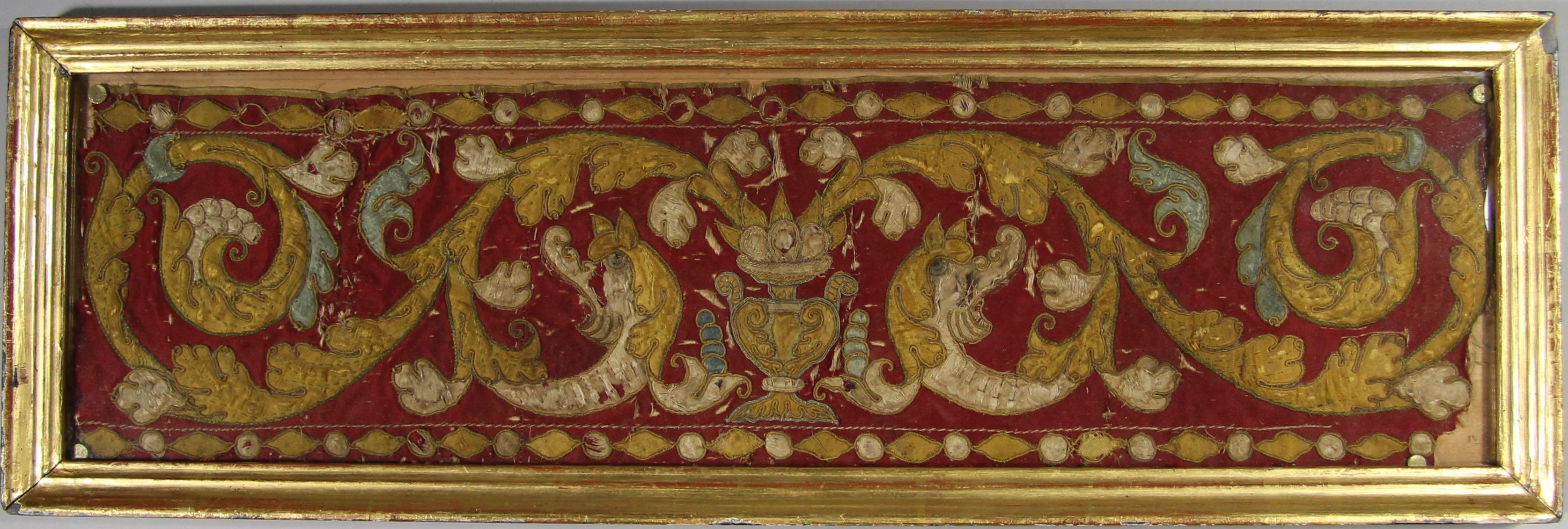 Embroidered appliqu� panel (framed fragment)