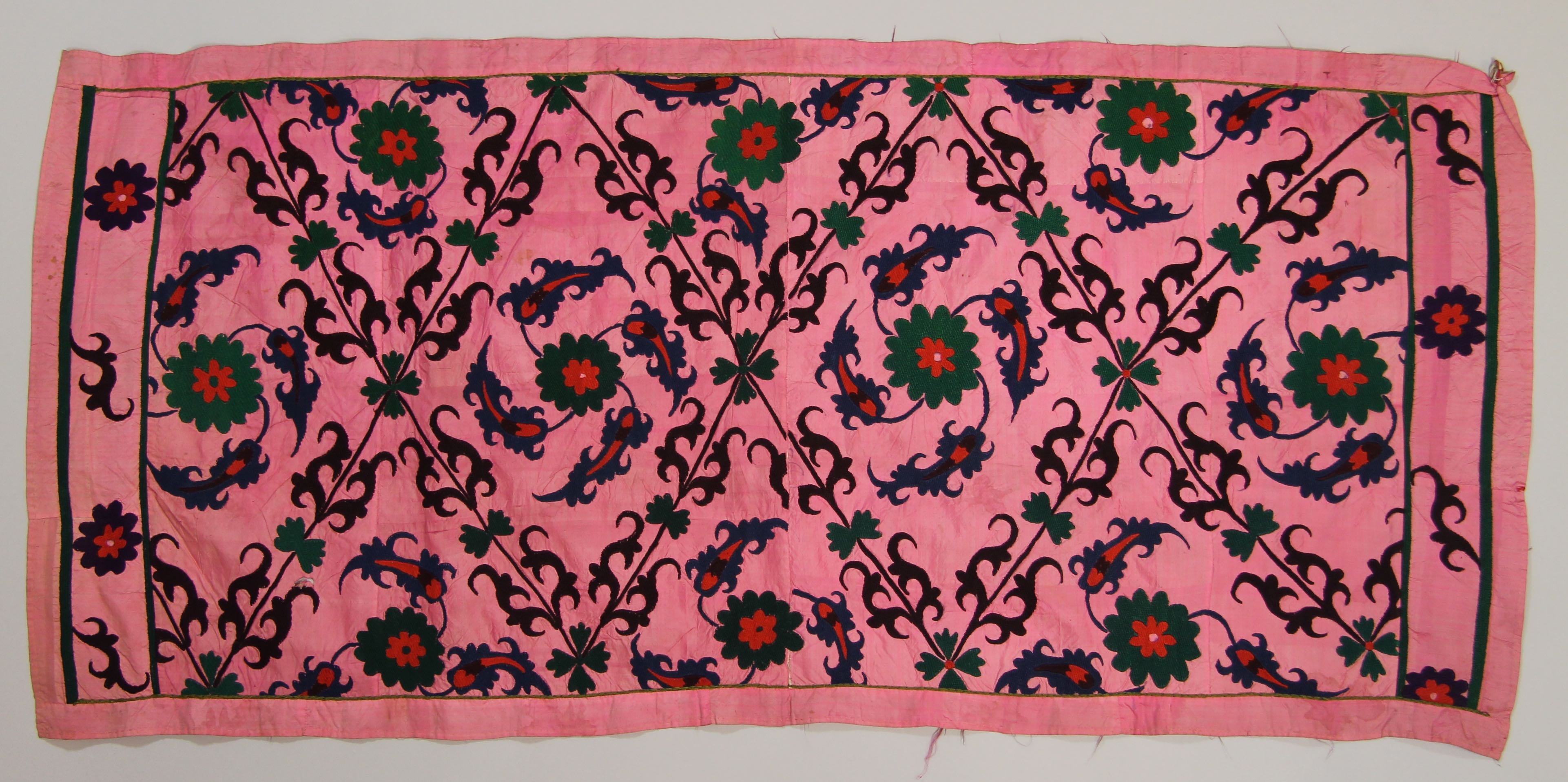 "Embroidered ""Suzani"" silk coverlet"