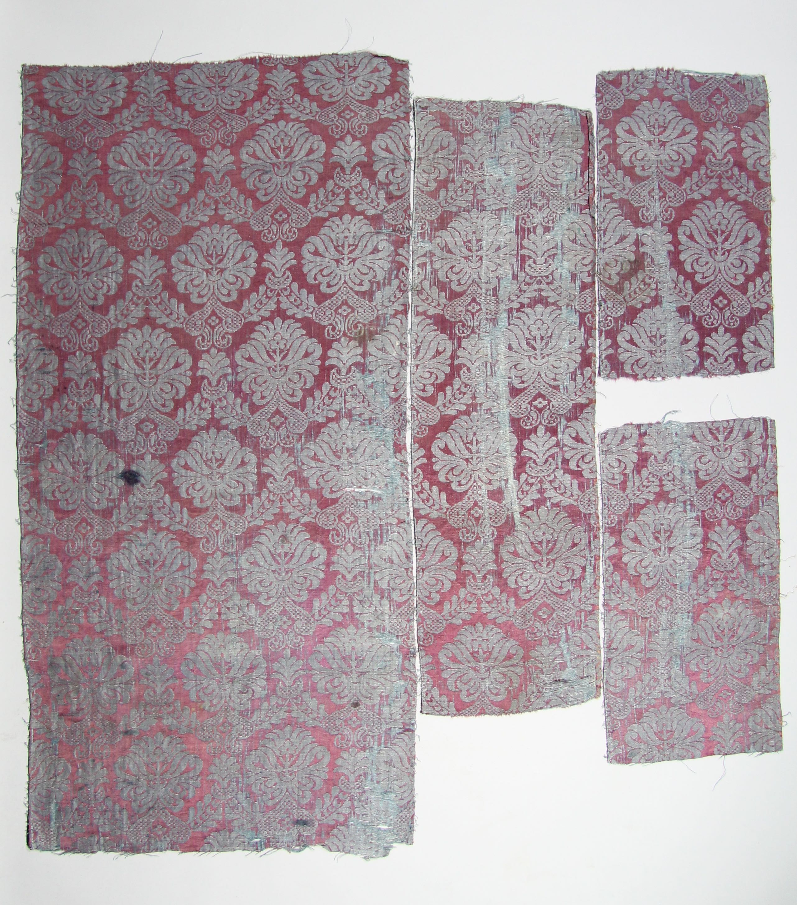 Four fragments of woven silk