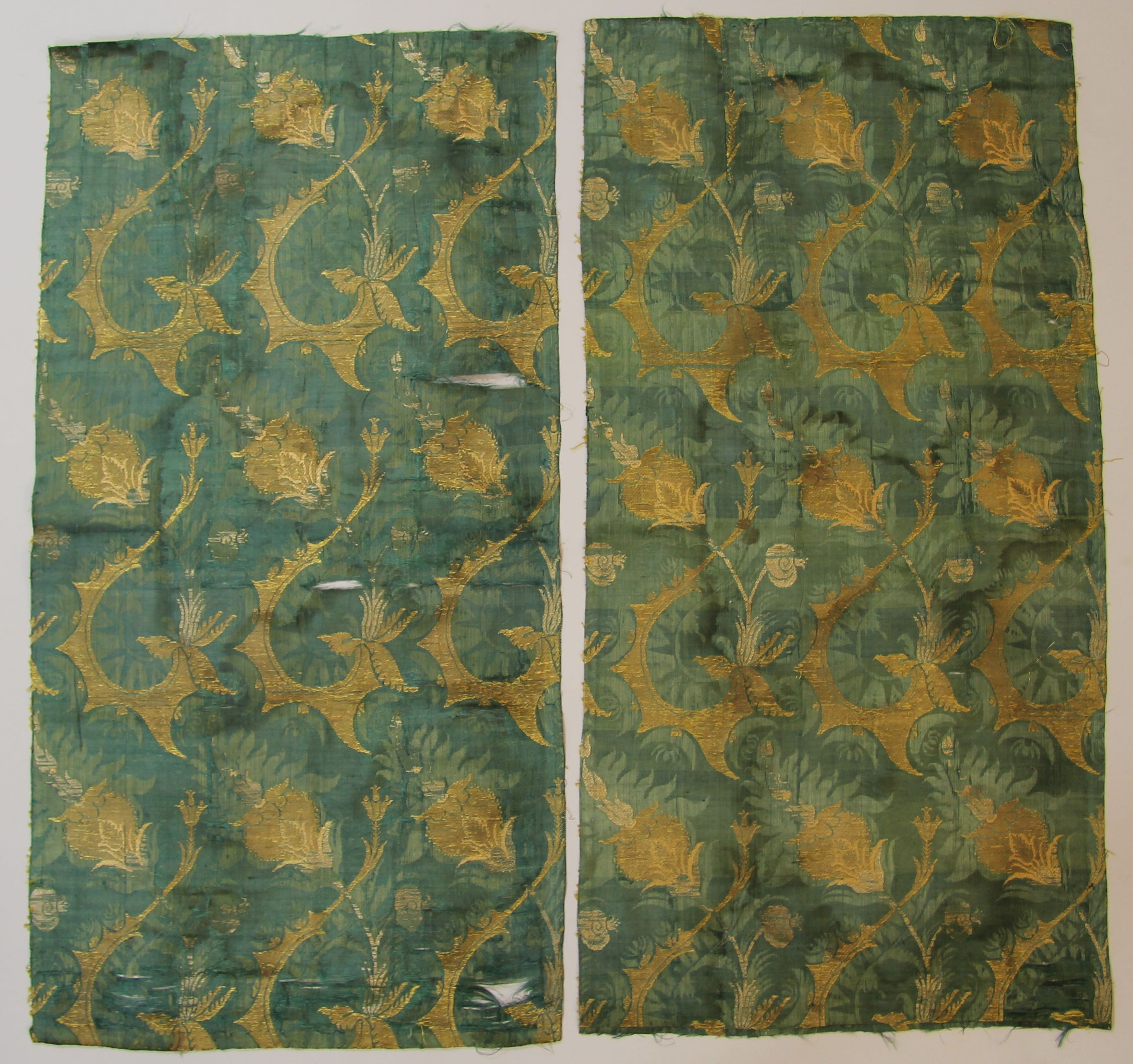 Two pieces of silk damask (?Bizarre Silk?)