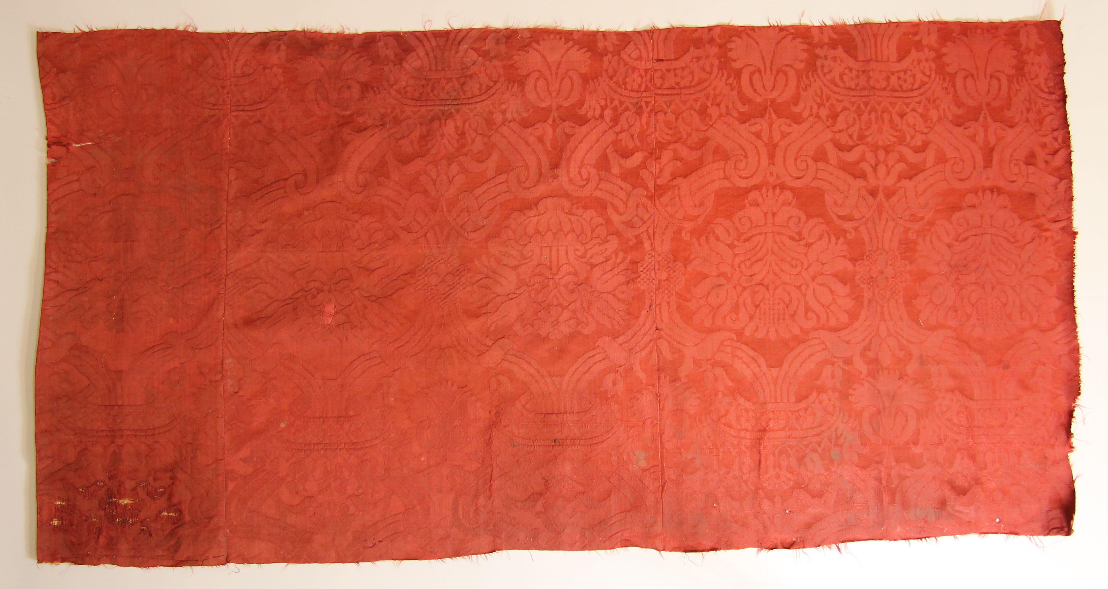 Three panels of silk damask