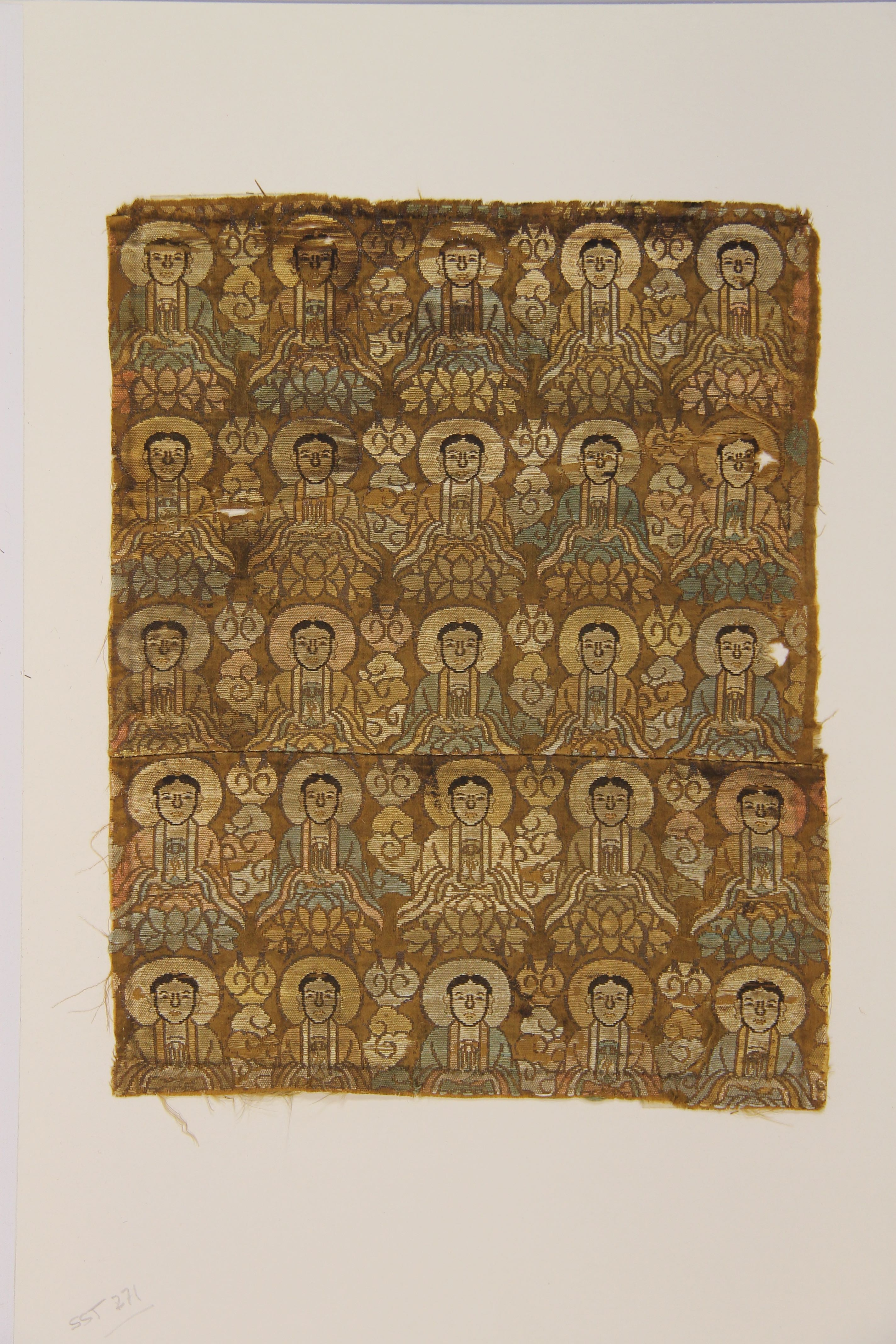 Woven textile with Buddhas (fragment)