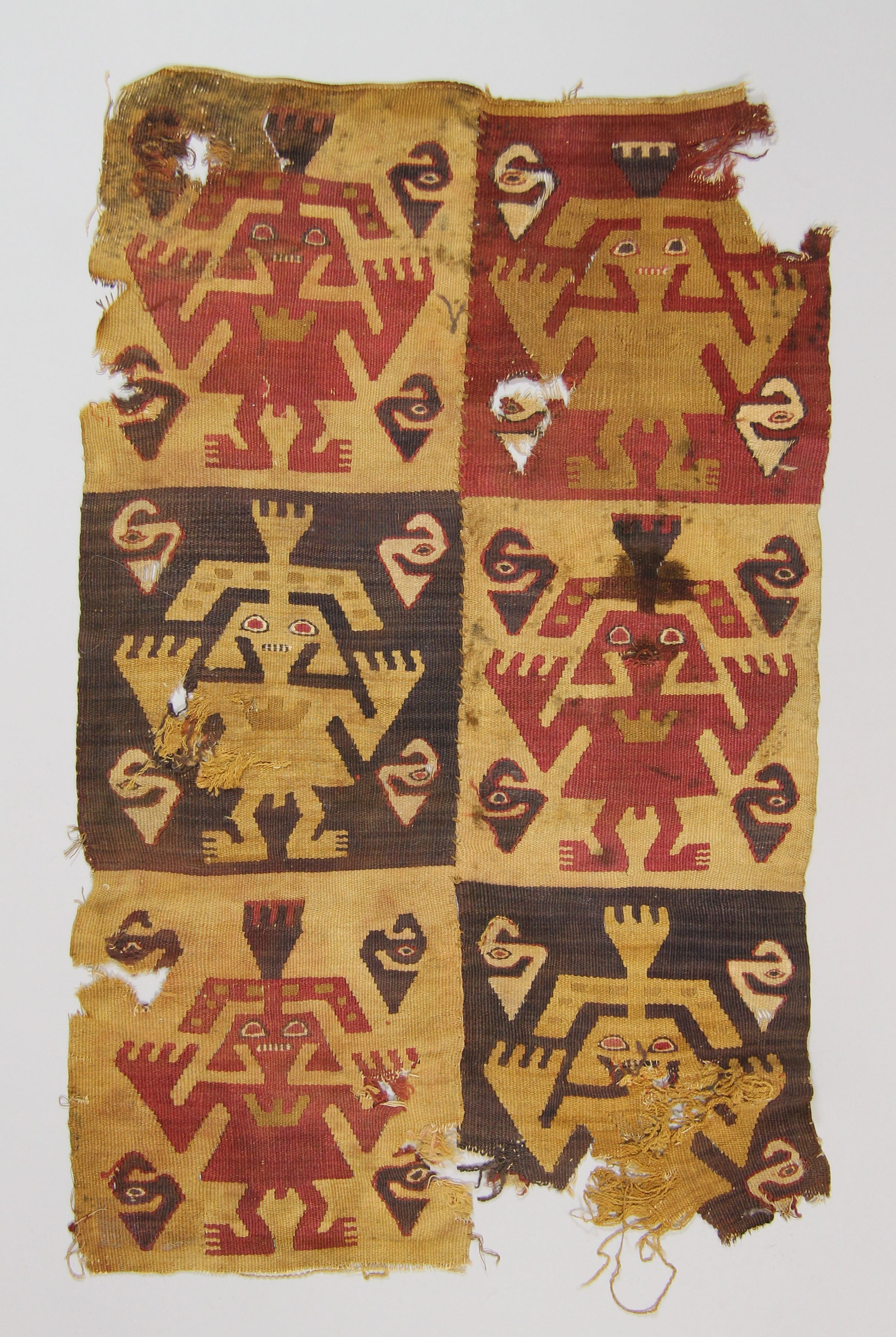 Woven textile with 6 squares (fragments)