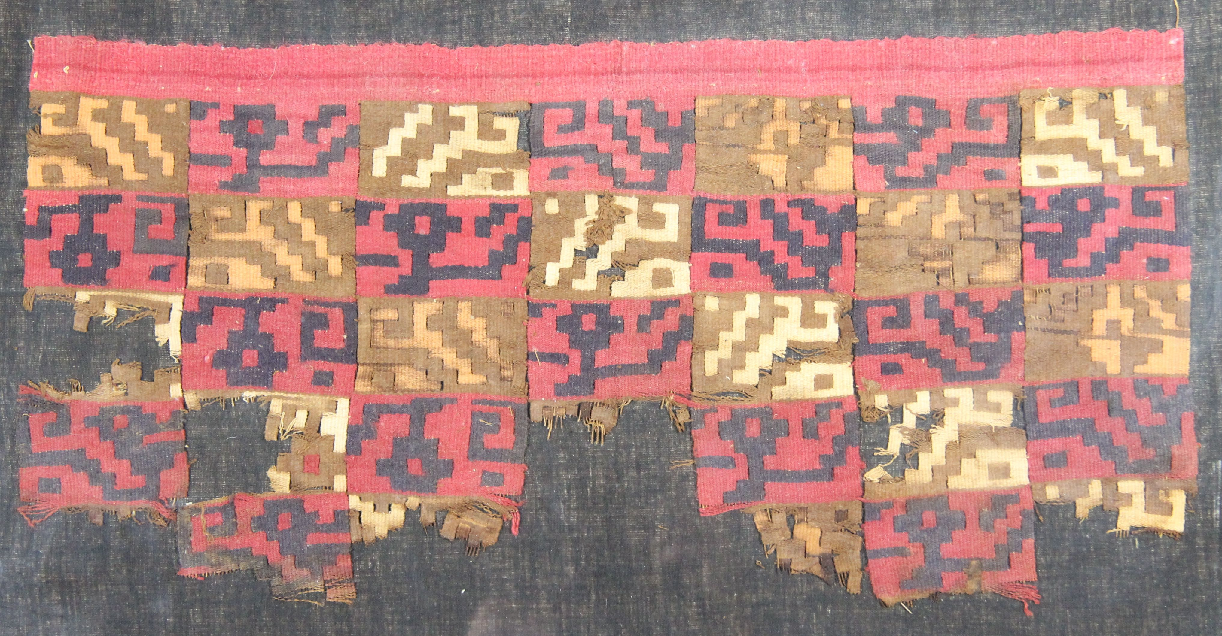 Woven wool textile with squares