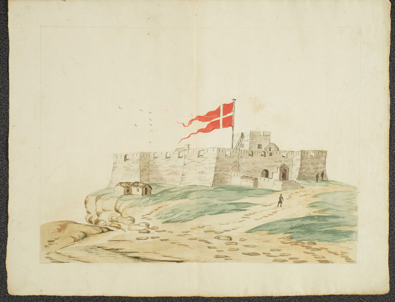 Het Deense fort Christiansburg aan de kust van West-Afrika.