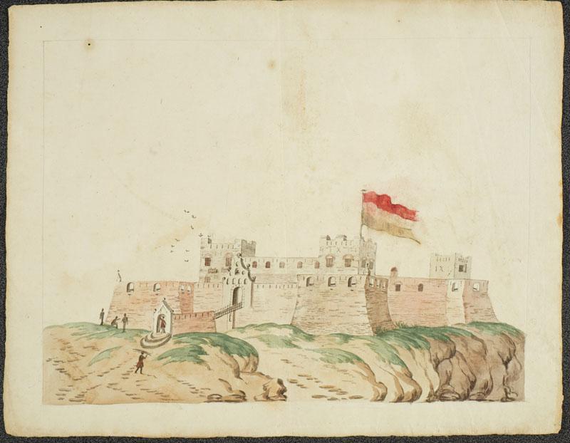 Het Nederlandse fort Nassau aan de kust van West-Afrika.