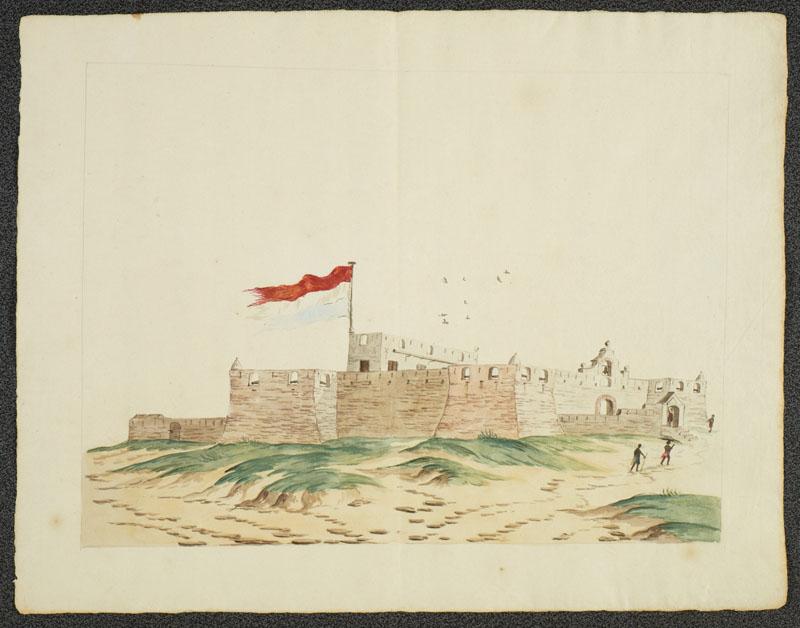 Het Nederlandse fort Crevecoeur aan de kust van West-Afrika.