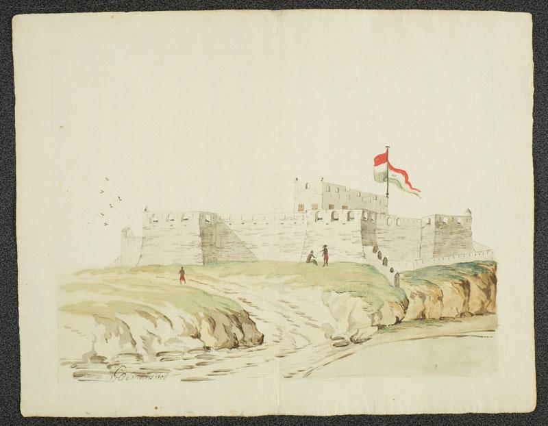 Het Nederlands fort Crevecoeur aan de kust van West-Afrika.