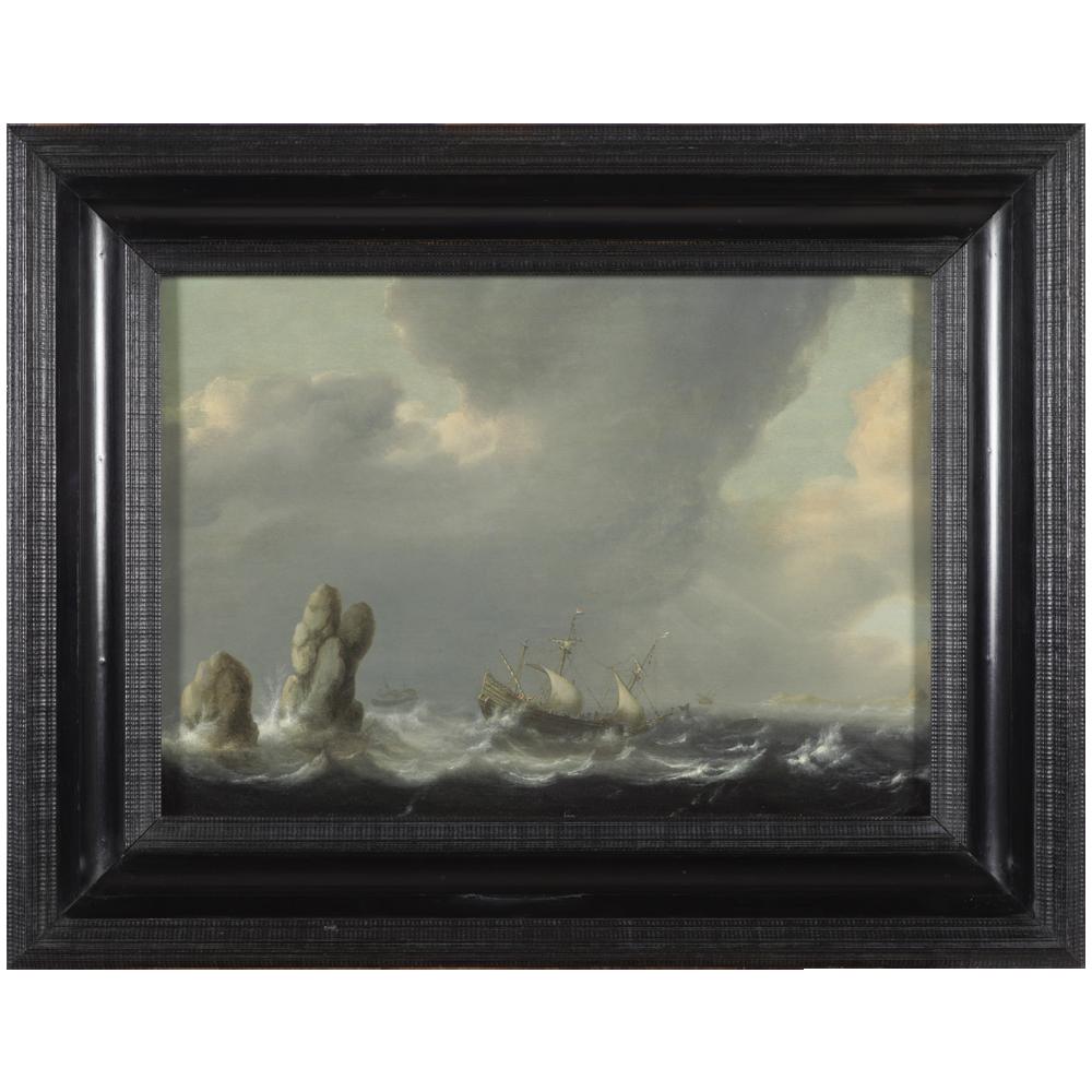 Schilderij, schip op een stormachtige zee