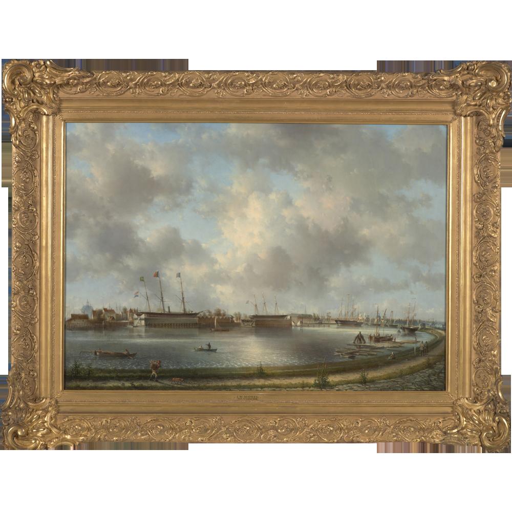 Gezicht op het Oosterdok en de Rijkswerf te Amsterdam