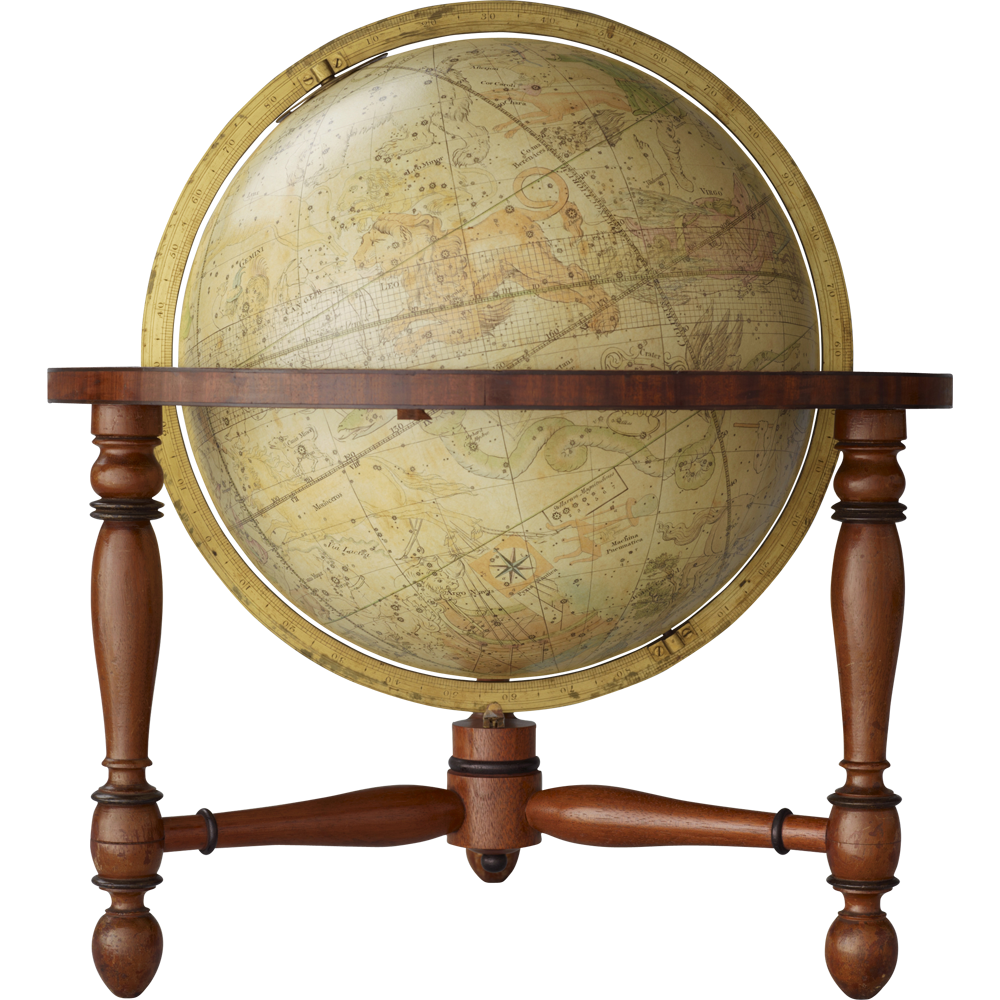Hemelglobe van 38,5 cm. in doorsnede door John & William Newton te Londen, 1818