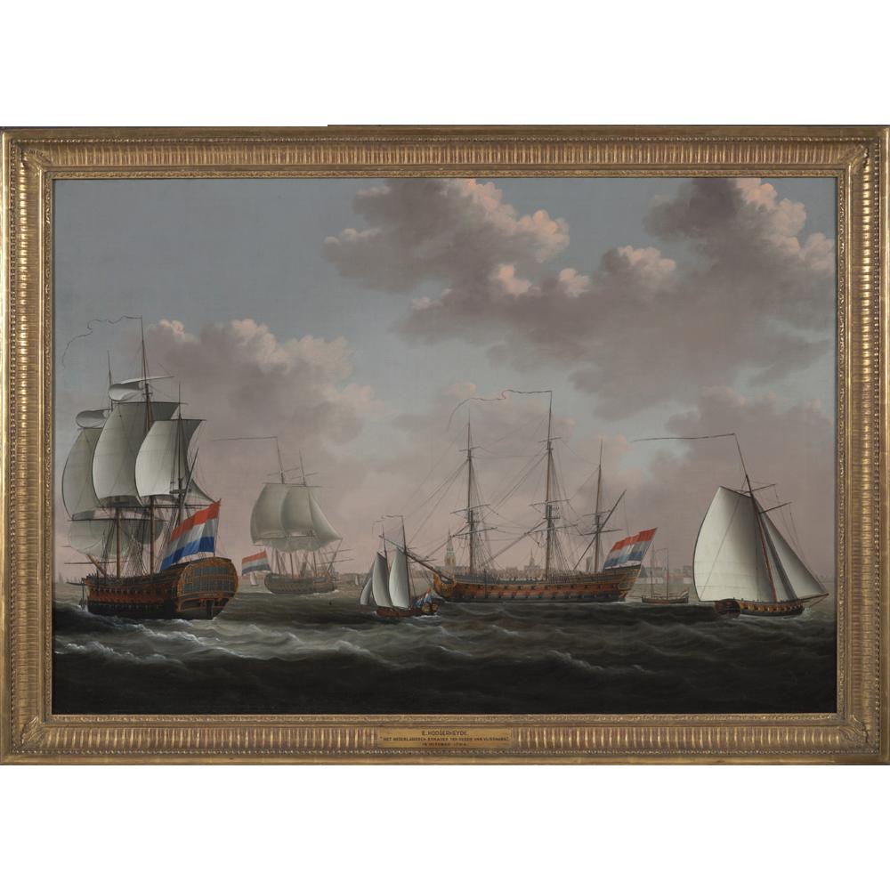 De Nederlandse blokkadevloot voor anker ter rede van Vlissingen, 1784