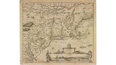Kaart van Nieuw Nederland, Nieuw Engeland en een deel van...