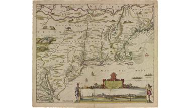 Met de hand gekleurde kaart van Nieuw Nederland, Nieuw...