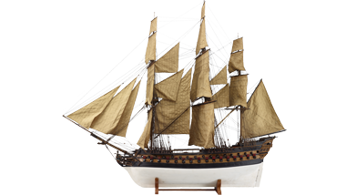 Getuigd model van een oorlogsschip met 86 stukken