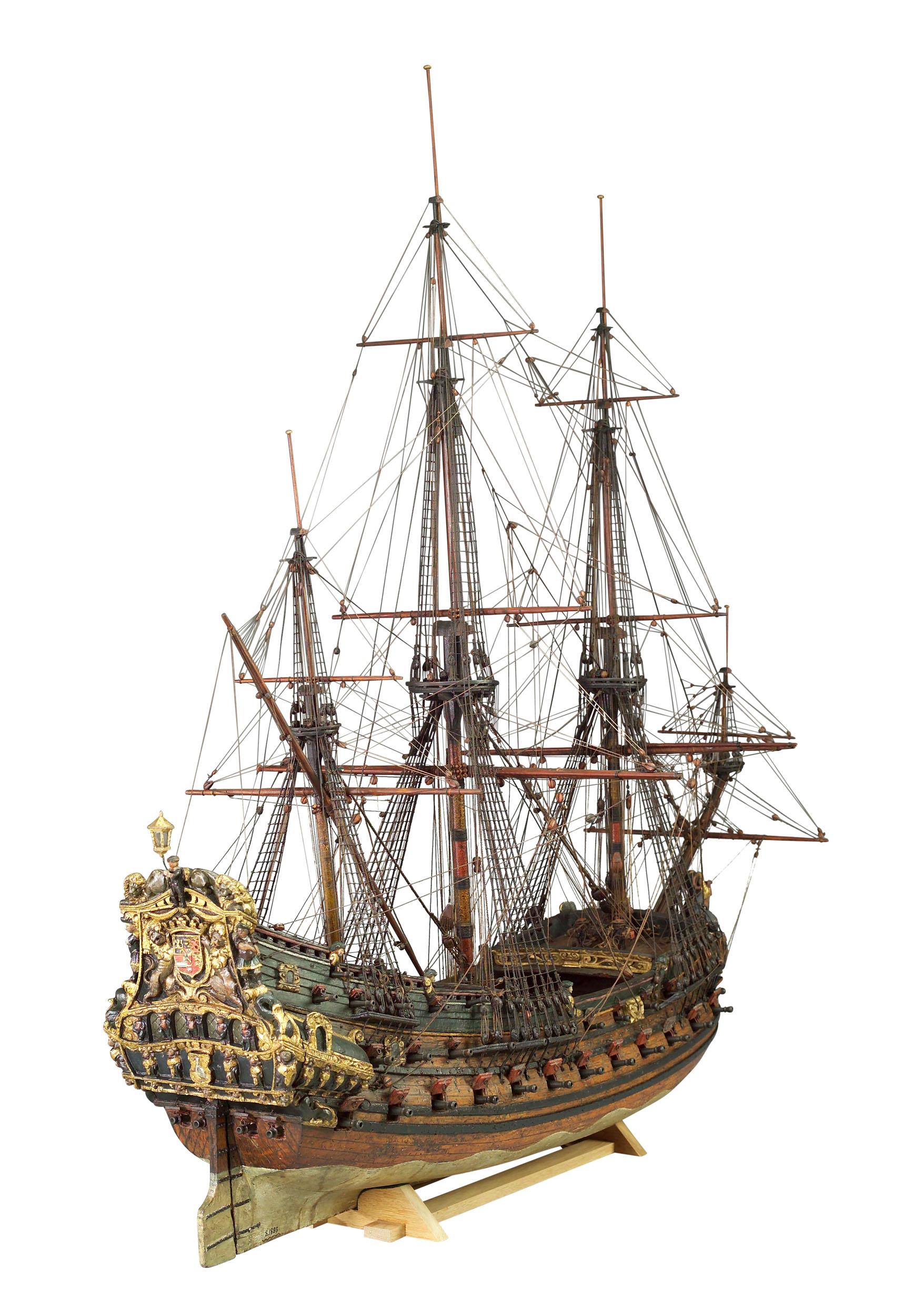 Getuigd model van een Nederlands oorlogsschip met 68 stukken
