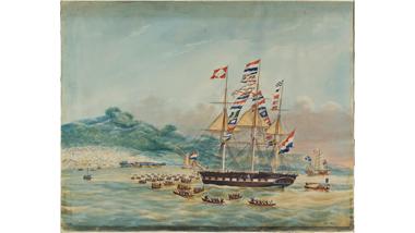 Het fregatschip Cornelia Henriette op de rede van Deshima
