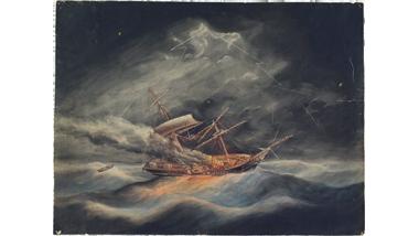 Het brikschip Nijverheid getroffen door de bliksem