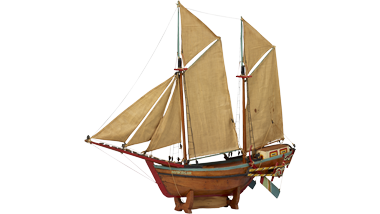 Getuigd model van een Indonesische prauw
