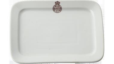 Kaasstolpschaal van porselein met het logo van de Koninklijke...