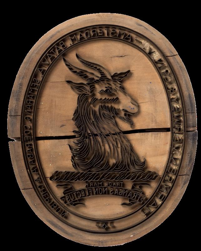 "Exportstempel:""Harmsen Verwey & Co N.V. Amsterdam Batavia Semarang, Soerabaja & Cheribon. Trade Mark frangas non flectus"""