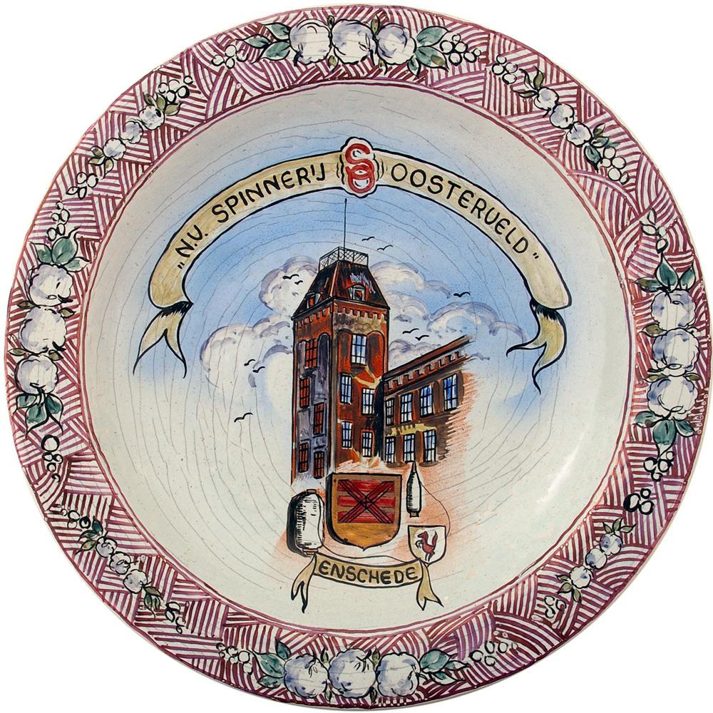"""Wandbord: """"N.V. Spinnerij Oostenveld Enschede"""""""