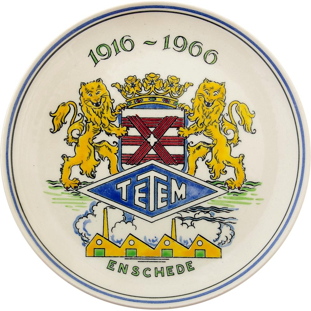 "Wandbord: ""1916-1966 TETEM Enschede"""