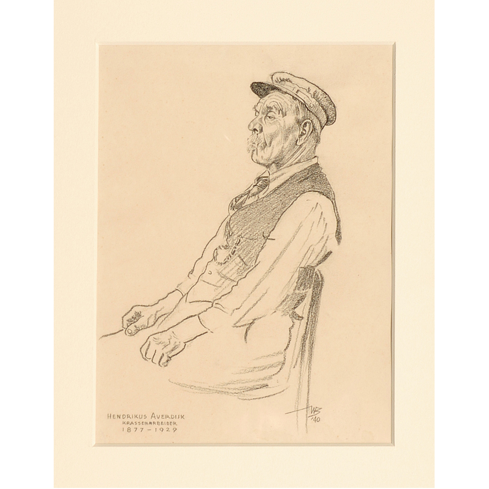 """Tekening: Portret """"Hendrikus Averdijk, Krassenarbeider 1877-1929"""""""