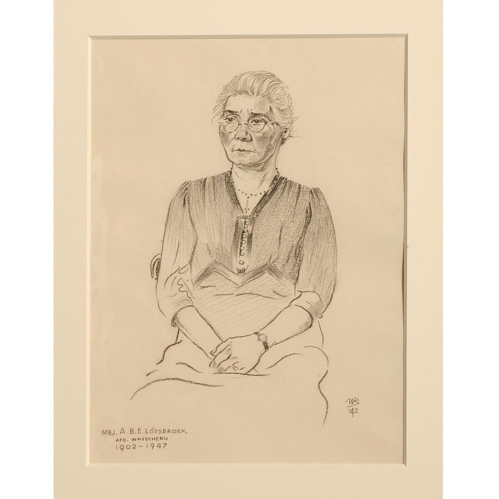 "Tekening: Portret ""Mej. A. B. E. Lössbroek"""