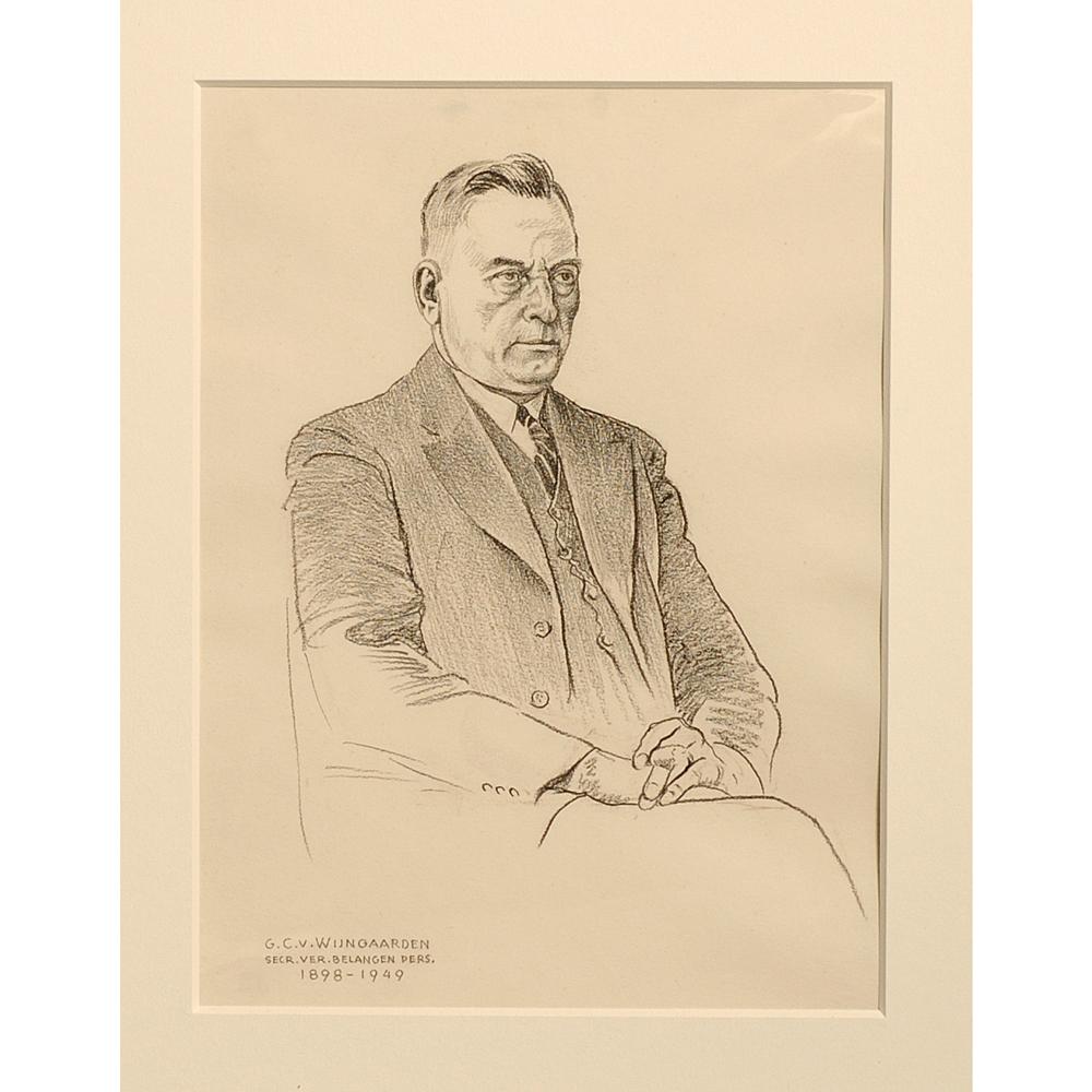 """Tekening: Portret """"G. C. v. Wijngaarden"""""""