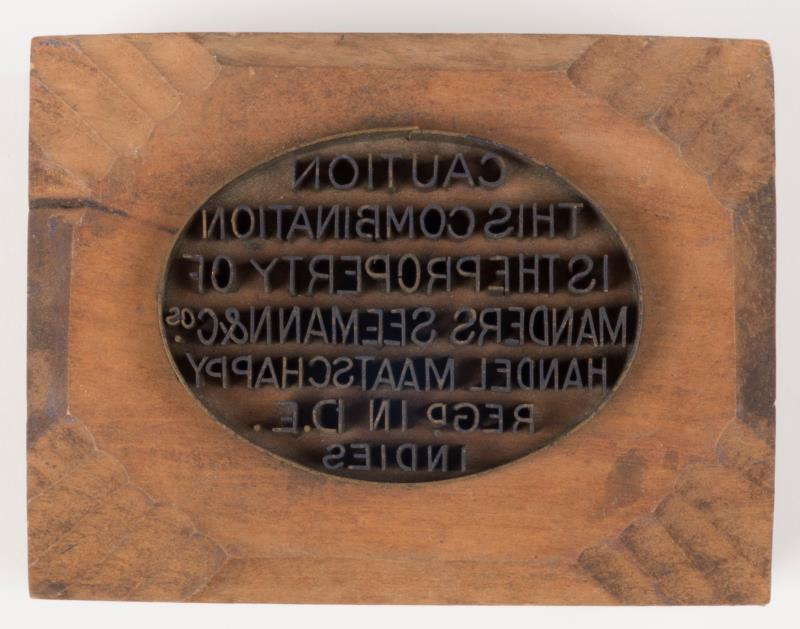 """Exportstempel: """"Manders Seemann en Co"""""""