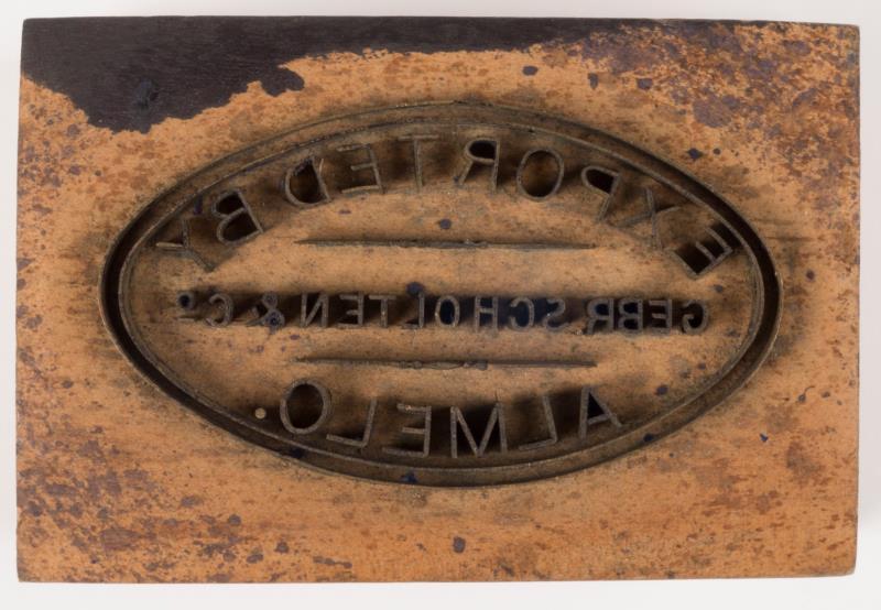 """Exportstempel: """"Gebr. Scholten en Co., Almelo"""""""