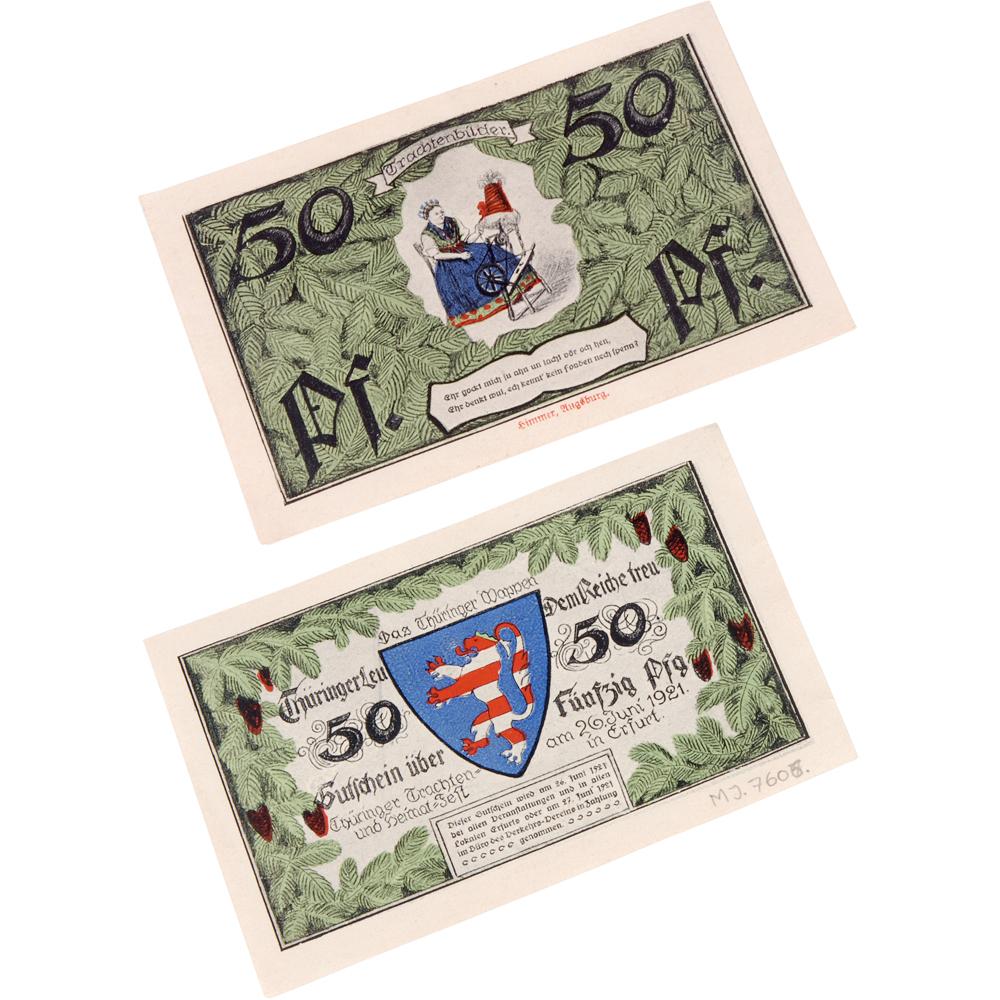 """Noodgeld: """"50 Pfennig, Erfurt 26 Juni 1921"""""""