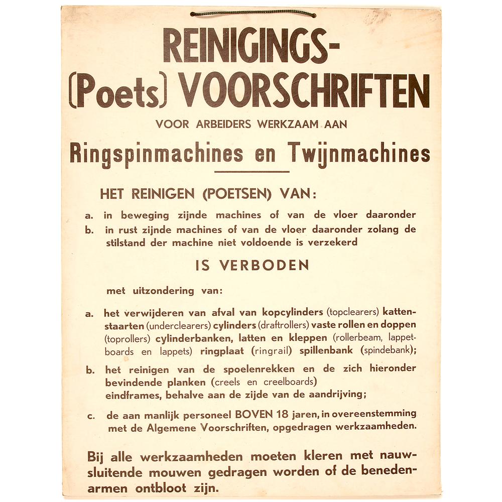 """Affiche: """"Reinigings- (Poets) Voorschriften"""""""