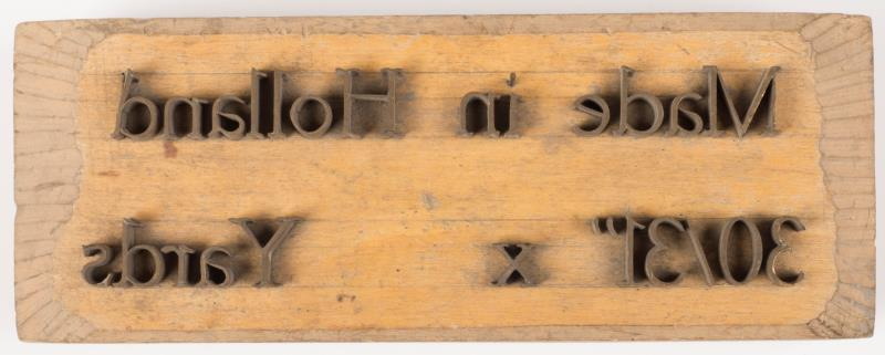 """Exportstempel: """"Made in Holland 30/31"""" x ... Yards"""""""