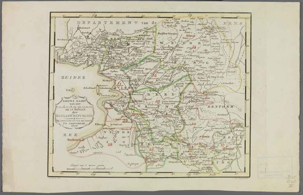 kaart: Nieuwe kaart van enige districten van de Bataafse Republiek
