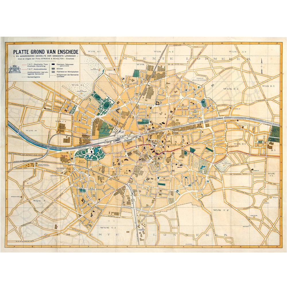 kaart: Plattegrond van Enschede en aangrenzend gedeelte der gemeente Lonneker