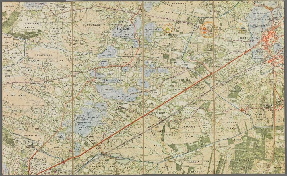 kaart: Chromotopografsiche kaarten van het Koninkrijk der Nederlanden, Oldenzaal - nr.380