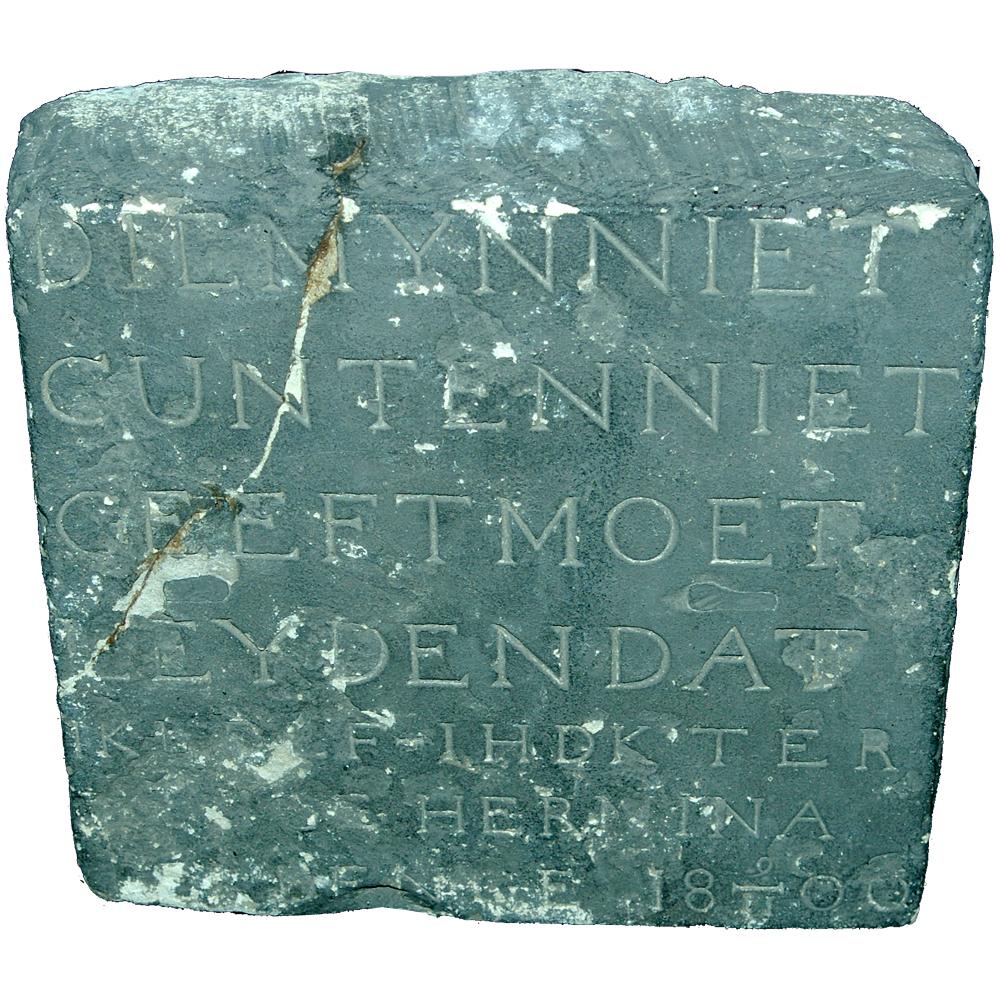 """Gevelsteen: """"Die mijn niet gunt en niet geeft moet leyden dat ik leef ihdk ter Denge Hermina ter Denge 19-11-1800"""""""