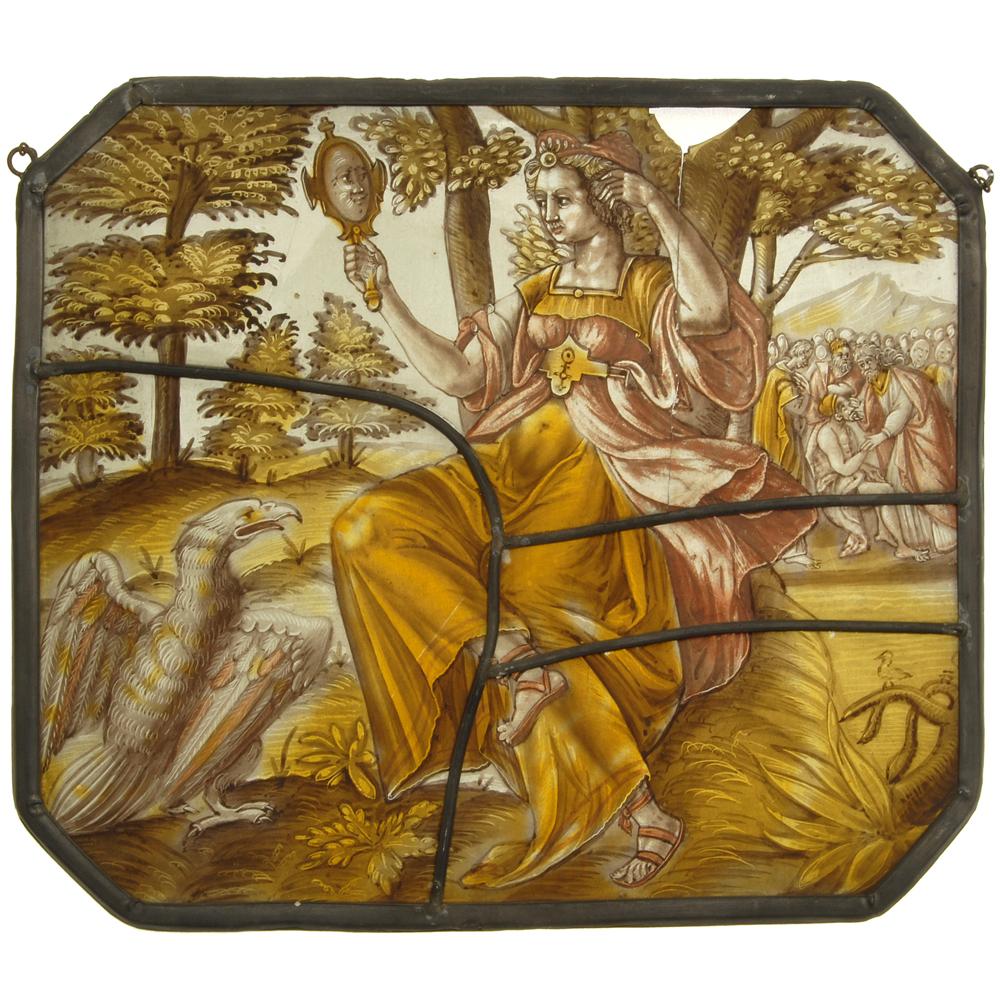 Glas-in-lood raam: Jezus geneest een blinde