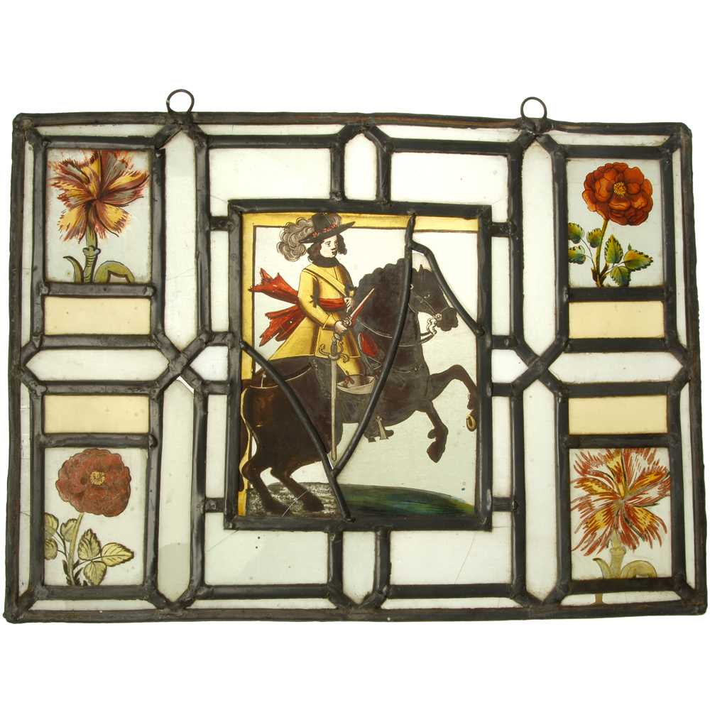 Glas-in-lood raam: Ridder te paard