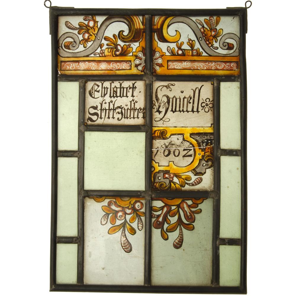 "Glas-in-lood raam: ""Elysabet Stiftjuffer Houell 1602"""