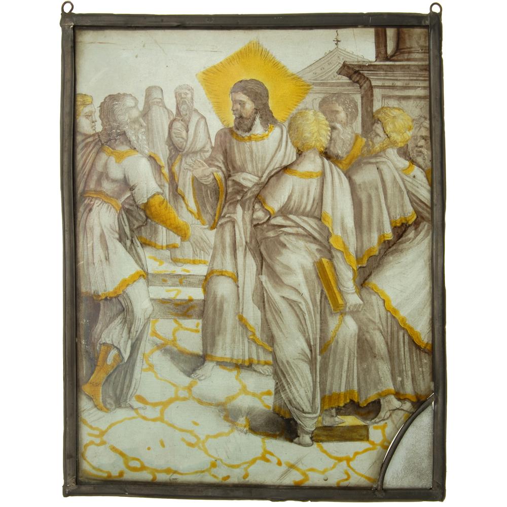 Glas-in-lood raam: Jezus en discipelen