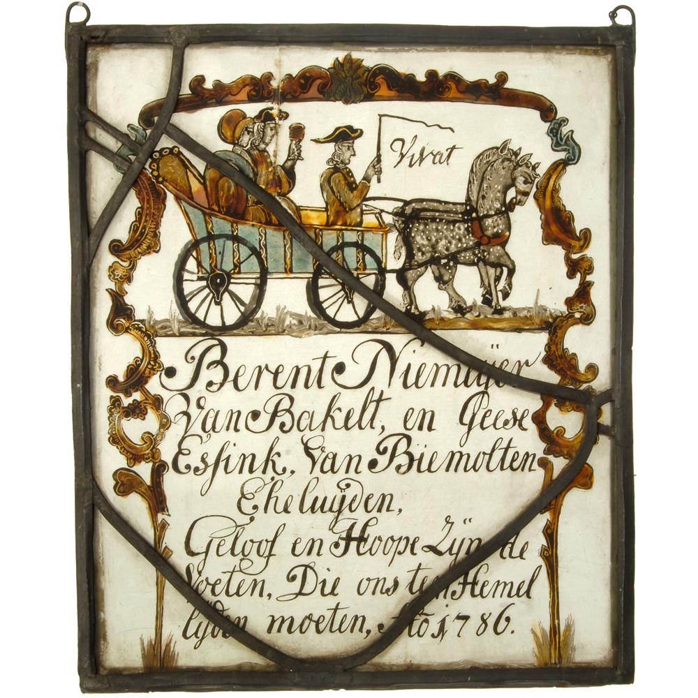 """Glas-in-lood raam: """"Berent Niemeijer van Bakelt en Geese Essink van Biemolten Eheluyden..."""" 1786"""